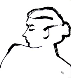 """Woman in profile,"" ink on paper, courtesy of Maj Kalfus"