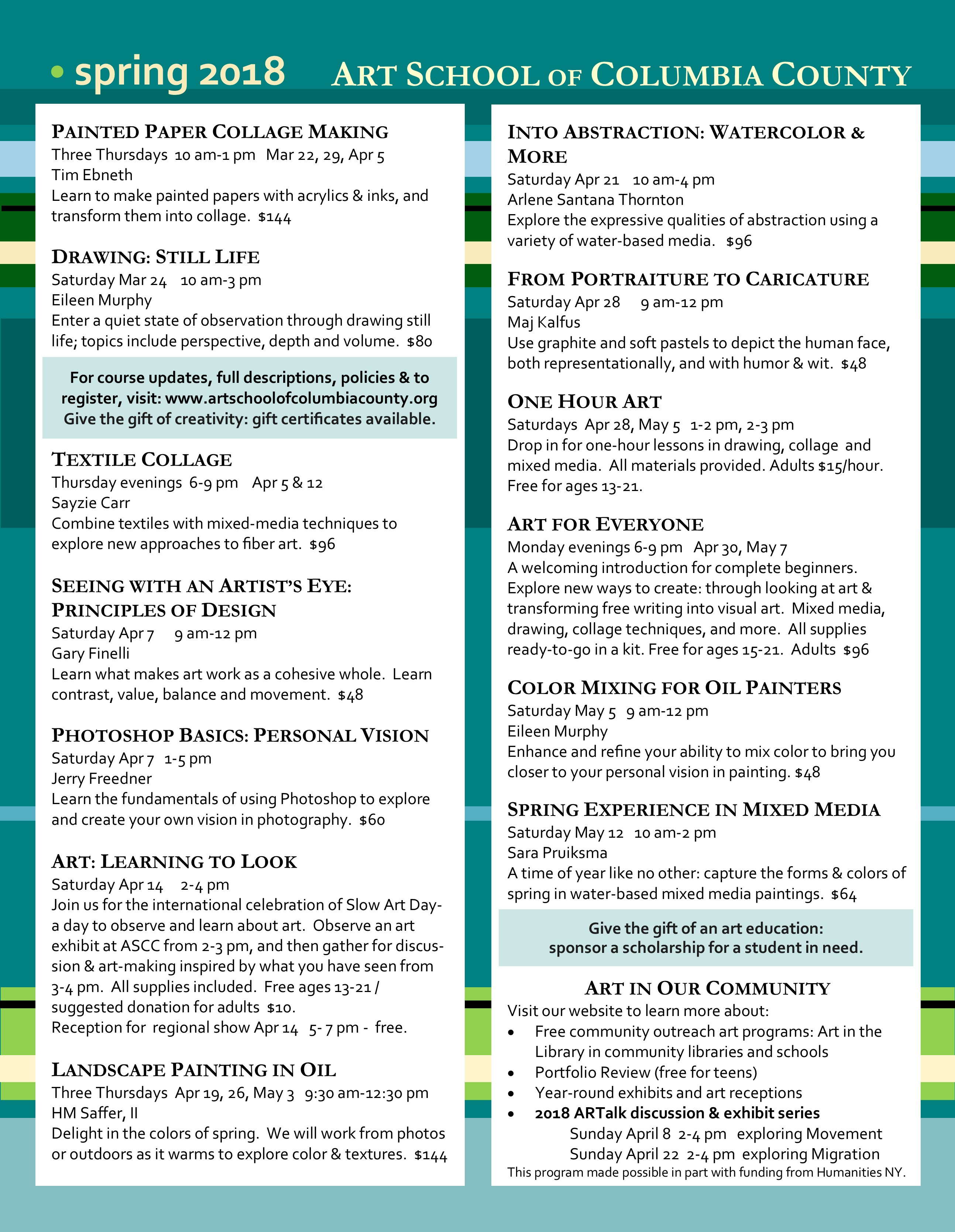 Spring 2018 Course Listings (Poster)
