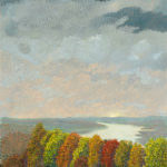 landscape view of Olana showing trees and Hudson River